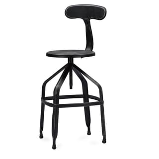 Baxton Studio Architect's Antique Black Industrial Bar Stool with Backrest in