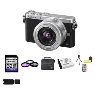 Panasonic DMC-GM1 Silver Camera with 12-32mm Lens and 2 Batteries/ 32GB Card Bundle