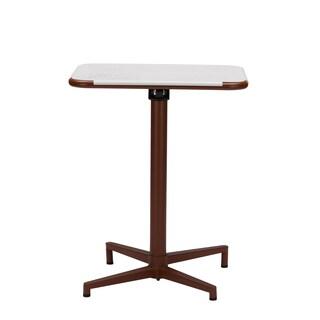 Baxton Studio Marinos 24-inch Square White Top Brown Metal Base Bistro Table