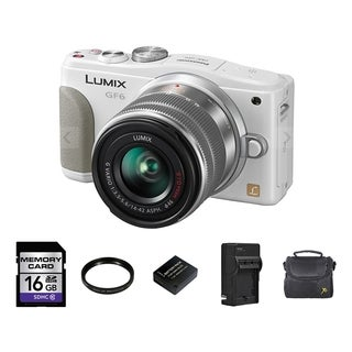 Panasonic DMC-GF6 White Digital Camera with 14-42mm and 2 Batteries/ 16GB Card Bundle