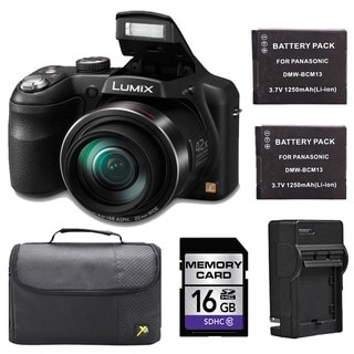 Panasonic Lumix DMC-LZ40 Black Digital Camera with 2 Batteries and 16GB Card Bundle
