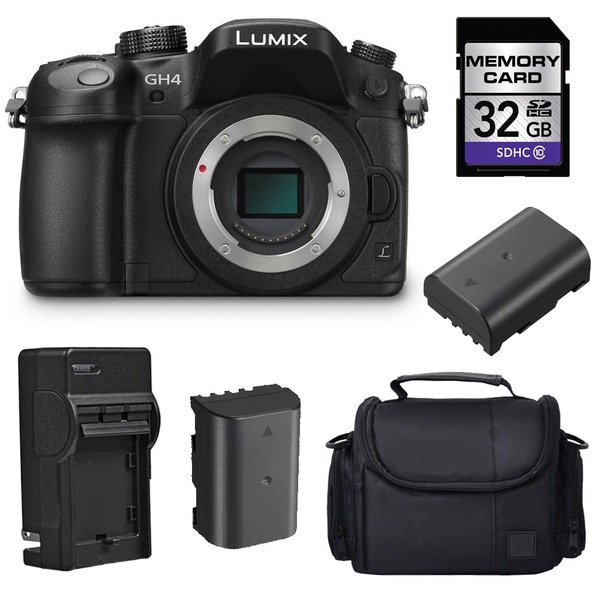 Panasonic Lumix DMC-GH4 4K Digital Camera with 2 Batteries and 32GB Card Bundle