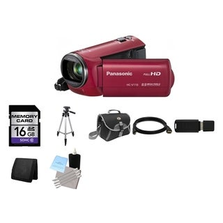 Panasonic HC-V110 Red HD Camcorder and 16GB Card Bundle