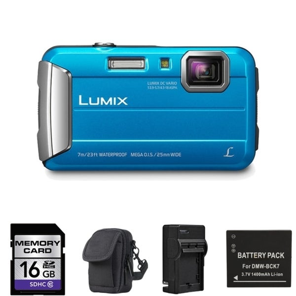 Panasonic Lumix DMC-TS25 Blue Digital Camera with 2 Batteries and 16GB Card Bundle