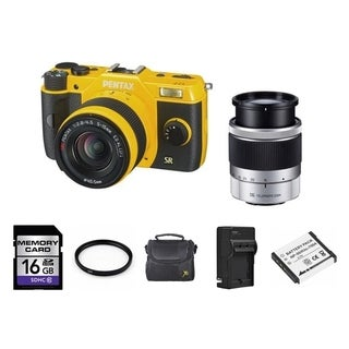 Pentax Q7 Yellow Camera with 5-15mm/ 15-45mm Lenses and 2 Batteries/ 16GB Card Bundle