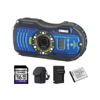 Ricoh WG-4 GPS Blue Digital Camera with 2 Batteries and 16GB Card Bundle