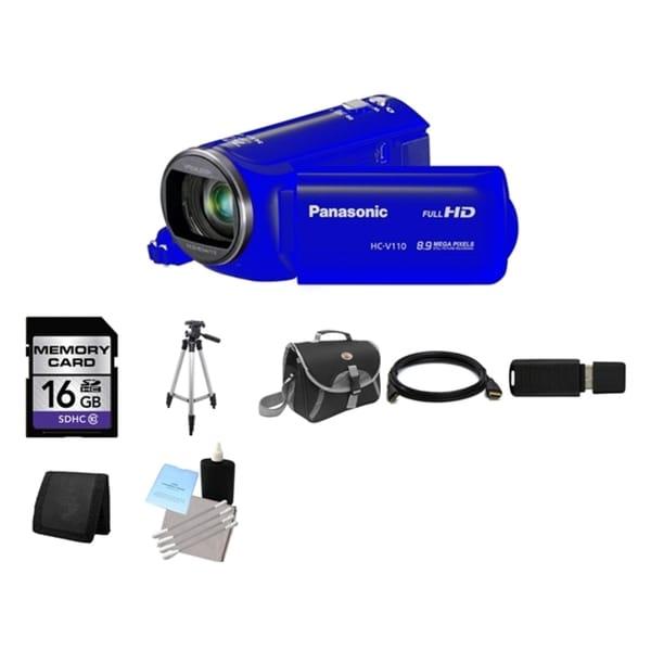 Panasonic HC-V110 Blue HD Camcorder and 16GB Card Bundle