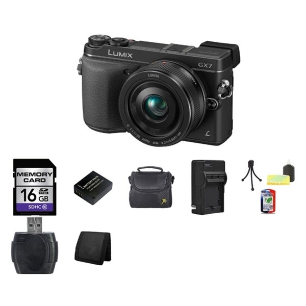 Panasonic Lumix DMC-GX7 Black Digital Camera with 20mm Lens and 16GB Card Bundle