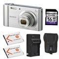 Sony Cyber-shot DSC-W800 Silver Digital Camera with 2 Batteries and 16GB Card Bundle