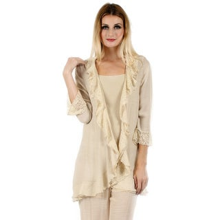 Women's 3/4 Sleeve Lace Open Front Cardigan