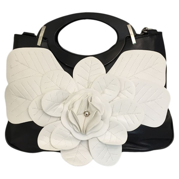 Medium White/ Black Flower Zippered Handbag
