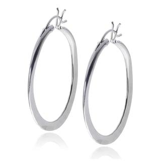 Journee Collection Sterling Silver Handmade Hammered Hoop Earrings