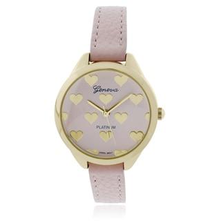 Geneva Platinum Heart Pattern Leather Strap Watch