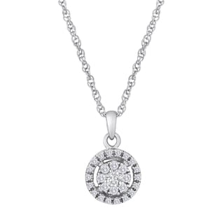 Sterling Silver 1/5ct TDW Diamond Round Halo Necklace (H-I, I2-I3)