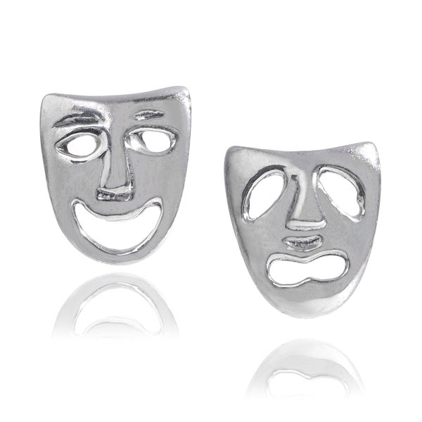 Journee Collection Sterling Silver Comedy Tragedy Mask Stud Earrings