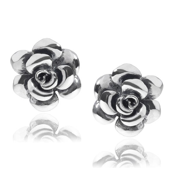 Journee Collection Sterling Silver Rose Blossom Stud Earrings