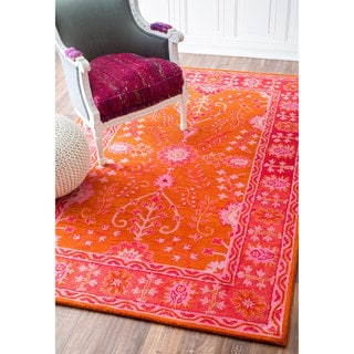 nuLOOM Handmade Contemporary Floral Wool Orange Rug (7'6 x 9'6)