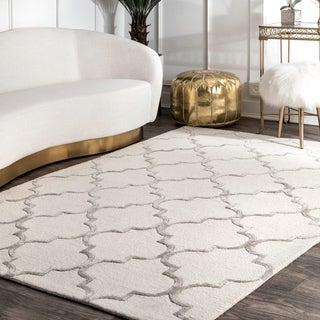 nuLOOM Handmade Moroccan Trellis Faux Silk Wool Rug (4' x 6')