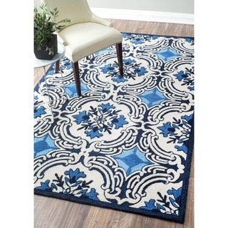 nuLOOM Handmade Modern Floral Fancy White/ Blue Rug (7'6 x 9'6)
