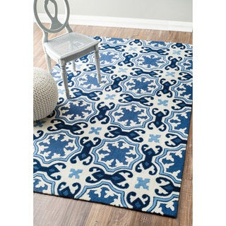 nuLOOM Handmade Modern Floral Fancy White/ Blue Rug (5' x 8')