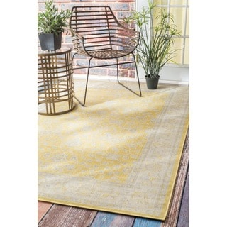 nuLOOM Traditional Modern Indoor/ Outdoor Yellow Porch Rug (8'10 x 11'10)