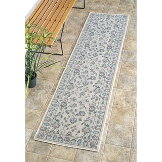 nuLOOM Traditional Modern Indoor/ Outdoor Cream Porch Runner Rug (2' x 7'6)