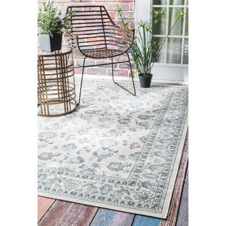 nuLOOM Traditional Modern Indoor/ Outdoor Cream Porch Rug (5' x 7'6)