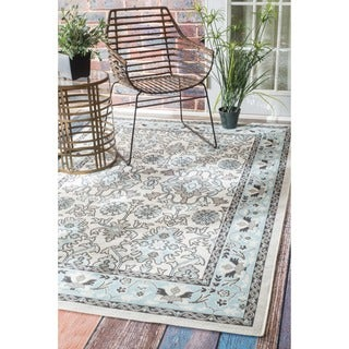 nuLOOM Traditional Modern Indoor/ Outdoor Light Blue Porch Rug (8'10 x 11'10)