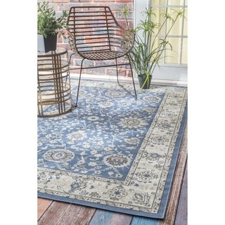 nuLOOM Traditional Modern Indoor/ Outdoor Blue Rug (8'10 x 11'10)