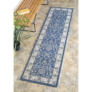 nuLOOM Traditional Modern Indoor/ Outdoor Blue Porch Runner Rug (2' x 7'6)