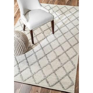 nuLOOM Contemporary Flatweave Trellis Wool Rug (9' x 12')