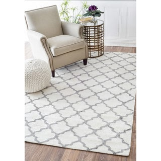 nuLOOM Contemporary Trellis Viscose White/ Grey Rug (4' x 6')