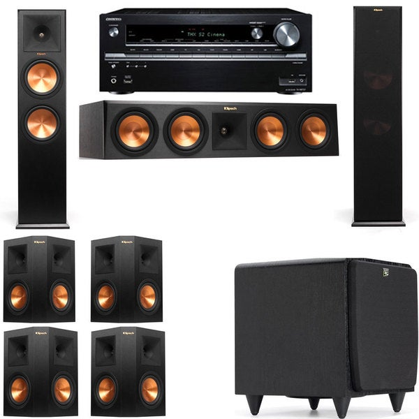 Klipsch RP-280F Tower Speakers-SDS12-7.1-Onkyo TX-NR838