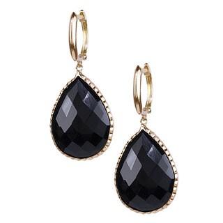 14k Yellow Gold Faceted Onyx Pear Cut Earrings