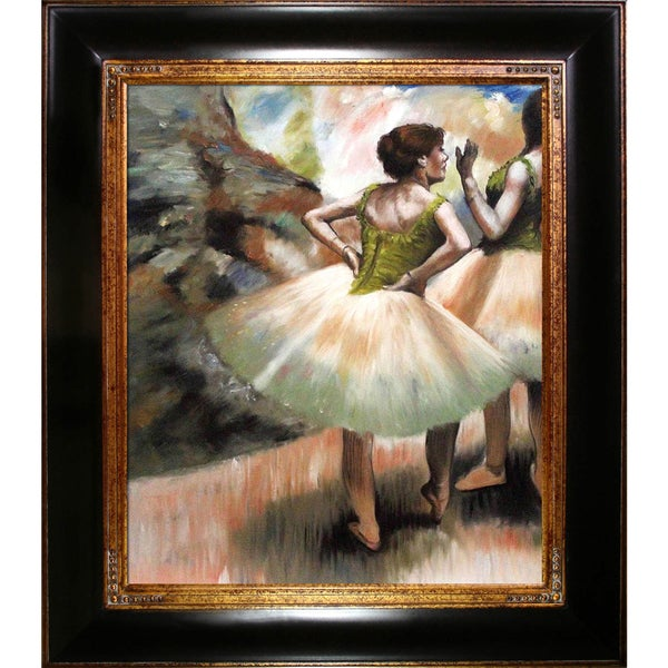 Edgar Degas 'Dancers, Pink and Green' Hand Painted Framed Canvas Art 15451377