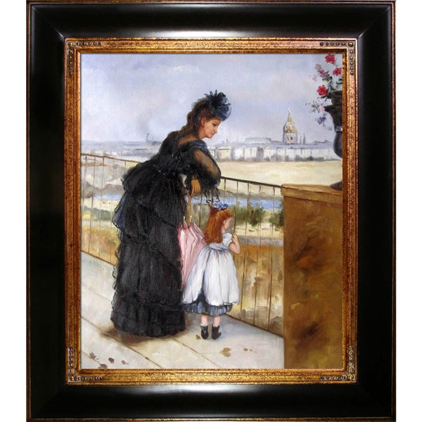 Berthe Morisot 'Woman and Child on a Balcony' Hand Painted Framed Canvas Art