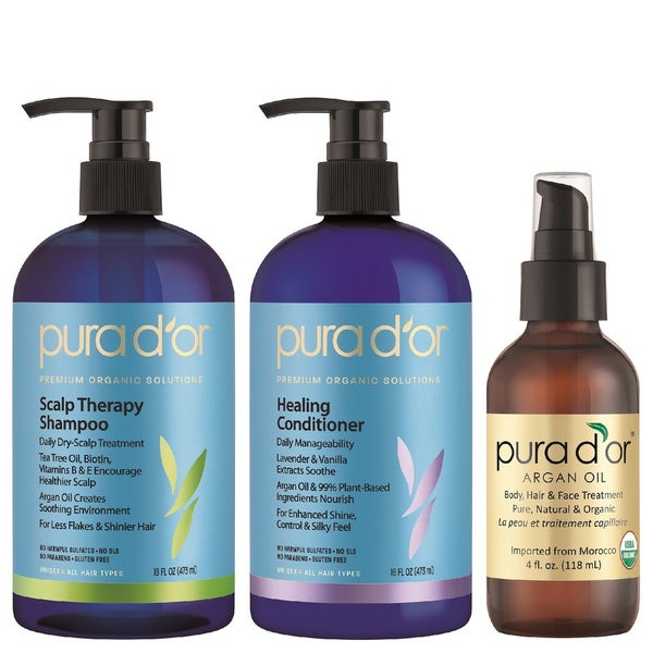 Pura d'or Premium Organic Dandruff Shampoo, Conditioner and Argan Oil Set