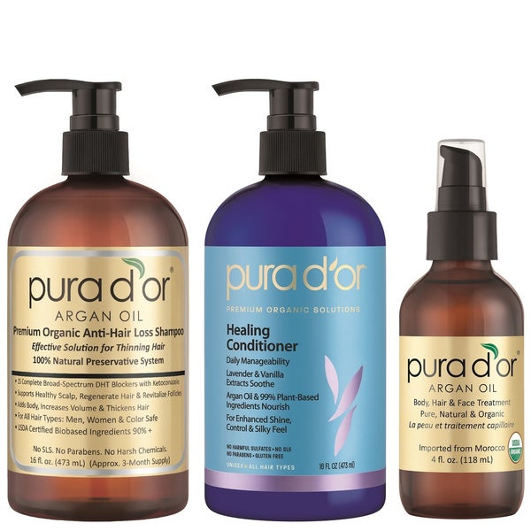 Pura d'or Premium Organic Anti-Hair Loss Shampoo, Conditioner and Argan Oil Set