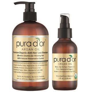 Pura d'or Premium Organic Anti-Hair Loss Shampoo and Argan Oil Set