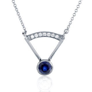 Annello 14k White Gold Round-cut Blue Sapphire Diamond Accented Bezel Necklace (G-H, I1-I2)