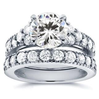 Annello 14k White Gold Moissanite and 1 1/10ct TDW Antique Diamond Bridal Rings Set (G-H, I1-I2)