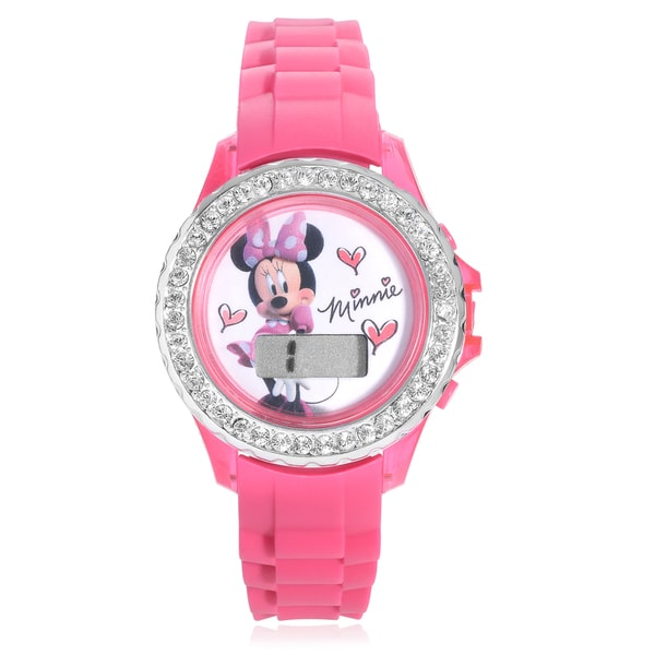 Disney Rhinestone Minnie Flashing Lights Strap Watch
