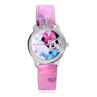 Disney Rhinestone Minnie Mouse Leather Strap Watch