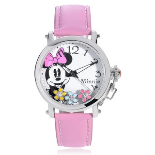 Disney Rhinestone Flower Minnie Leather Strap Watch