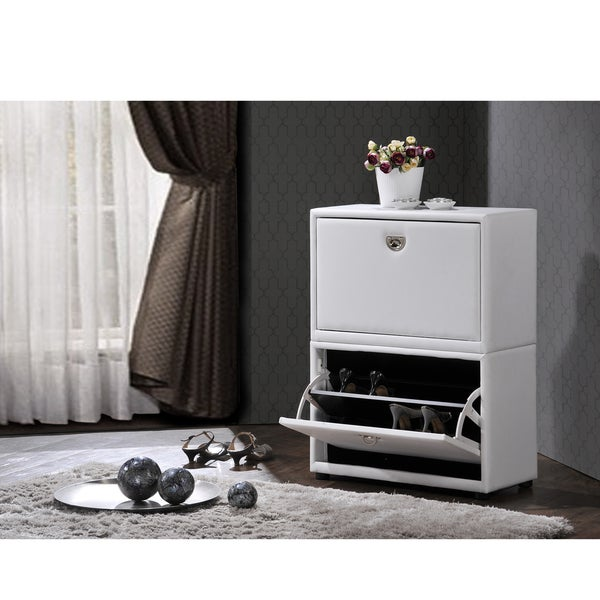 Petito Contemporary 2-Tier White Leather Upholstered Shoe Cabinet
