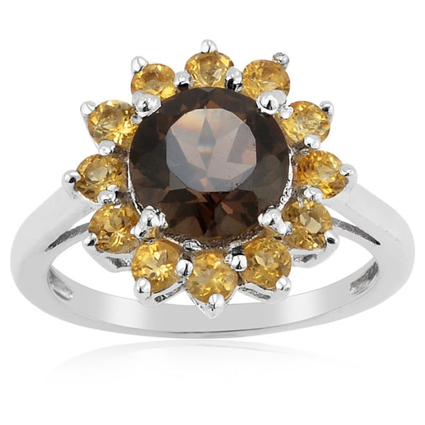 Sterling Silver Smoky Quartz and Citrine Flower Ring
