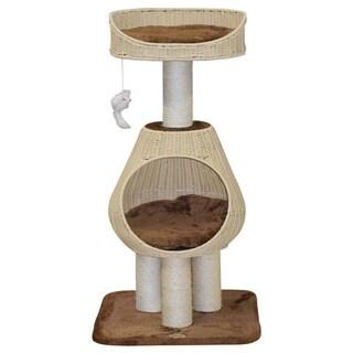 GoPetClub Hand Craft Rattan Wicker Cat Tree Furniture