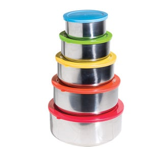 Stainless Steel Food Storage Containers with Colored Lids 10-piece Set