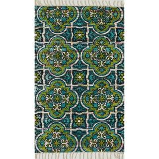 Flatweave Maria Blue/ Lime Marrakesh Rug (3'6 x 5'6)