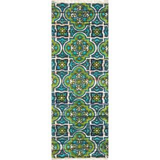 Flatweave Maria Blue/ Lime Marrakesh Runner Rug (1'9 x 5'0)